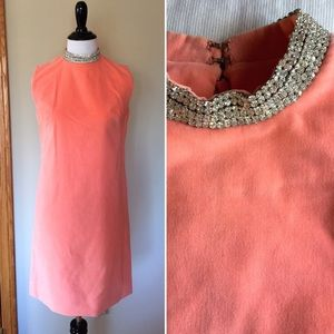 Vintage peach velveteen evening wiggle dress